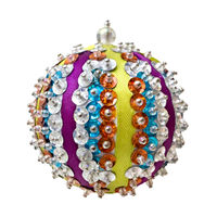 homemade blue Christmas ball isolated on white background
