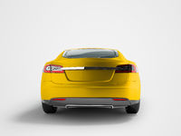 Modern electric car behind the yellow 3d render on a gray background with a shadow