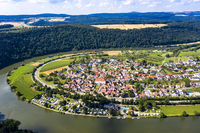 aerial view Binau Castle at river Neckar, Region Odenwald, Baden-Württemberg, Germany