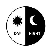 vector icon for day and night. Black and night. Sun and moon. Weather.Flat design, EPS 10.