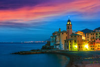 The tourist resort of Camogli on the Italian Riviera in the Metropolitan City of Genoa