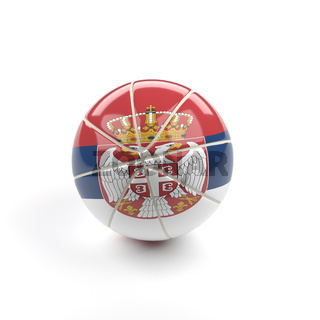 Basketball with the flag of Serbia