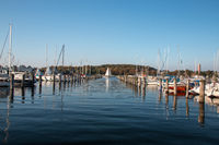 Saling boats in the harbour in Germany