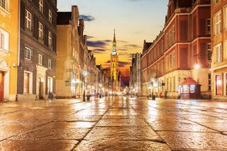 Gdansk main street, Long Market in the evening, no people