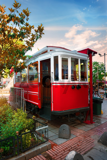 Red old tram