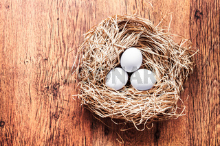 Eggs in a nest, easter composition