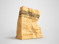 Great paper shopping bag for supermarket 3d render on gray background with shadow