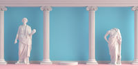 3d-illustration of interior with antique statues and columns