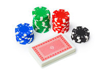 Gambling casino chips and playing cards
