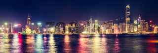 Hong Kong skyline at night. Panorama