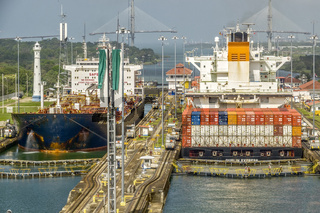 ShipS Passing Through The Panama Canal, Panama, Central America