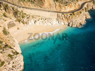 Angled Drone View Sand Beach Sea Kaputas Turkey