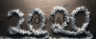 New Year 2020 with a silver garland
