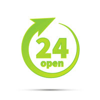24 hours open, bright green simple icon on white