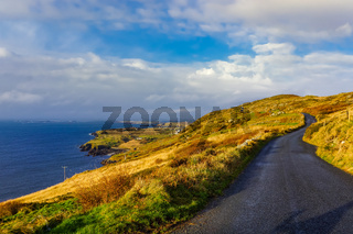 Wild Atlantic way on the cost in beautiful scenery and dramatic sky