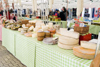 A range of cheese for sale at the Canterbury Italian market