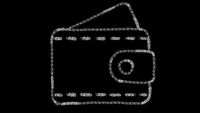 wallet icon designed with drawing style on chalkboard, animated footage ideal for compositing and motiongrafics