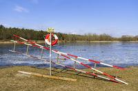 Rettungsleiter am Habermannsee in Kaulsdorf, Berlin, Deutschland