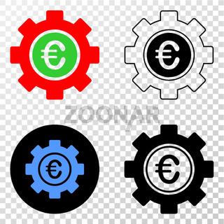Euro Gear Vector EPS Icon with Contour Version