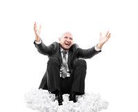 Loud shouting or screaming tired stressed businessman gesturing raised hands