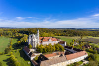 Aerial view Benedictine Monastery, Neresheim Abbey, Neresheim, Baden-Wuerttemberg, Germany