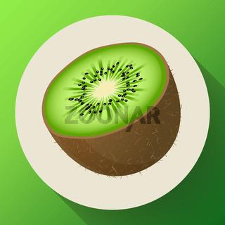 Single half of ripe juicy kiwi fruit icon vector