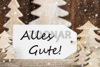 Christmas Tree, Label, Alles Gute Means Best Wishes, Snowflakes