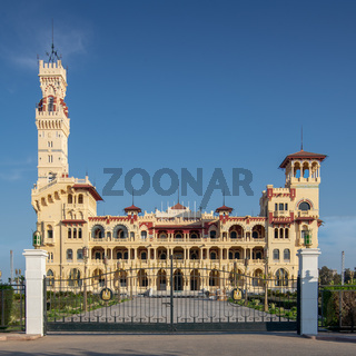 Front view of the royal palace at Montaza public park, Alexandria, Egypt