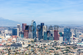Downtown Los Angeles skyline city buildings cityscape aerial view