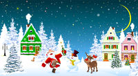 Santa Claus snowman deer celebrate Christmas 1