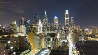 Night Time Inner City Downtown Philadelphia Pennsylvania Aerial