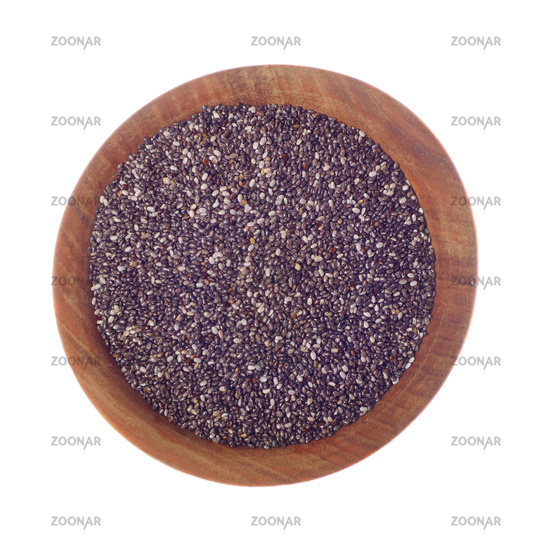 Raw Chia seeds in wooden bowl isolated on white background
