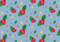 Colorful food pattern. Seamless vector vegan background.