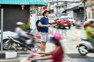 Traveler on city street