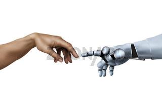 Michelangelo, die Erschaffung Adams, mit  einem Roboter