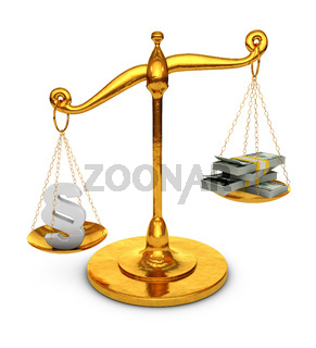 Paragraph and dollars on scales