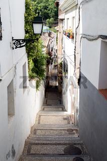 Narrow Alley in Albaicin District in Granada, Spain