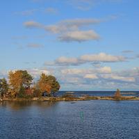 October day in Mellerud community. Stunning landscape in Dalsland, Sweden. Blue Lake Vanern.