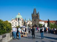 Tourists on Charles Bridge in Prague