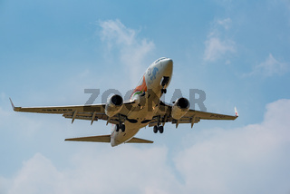 China Eastern airlines Boeing 737 commercial airplane against sky