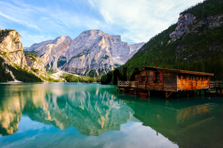 Braies Lake ( Pragser Wildsee ) in Dolomites mountains