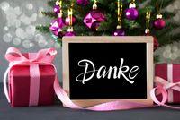 Christmas Tree, Pink Gift, Bokeh, Danke Means Thank You, Ball