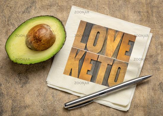love keto - ketogenic diet concept