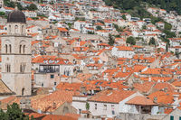 Church tower and hillside homes in Dubrovnik