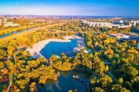 Bundek lake and city of Zagreb aerial autumn view