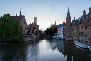 Bruges city skyline at twilight in Bruges, Belgium