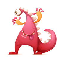 Cute, funny monster, dino characters. One eye.