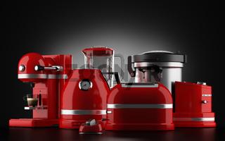 red kitchen appliances on black background