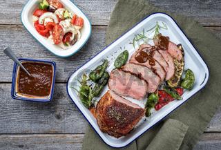 Barbecue dry aged veal roast steak sliced vegetable