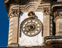 Ornate clock on the Our Lady of Remedies church above the city of Lamego
